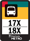 Routes 17x and 18x bus sign