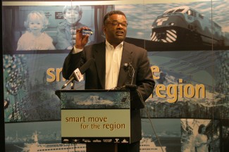 Photo of Ron Sims speaking.