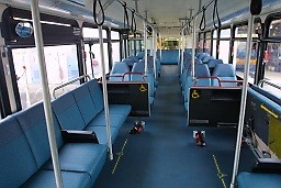 Photo of inside of Gillig bus showing priority area