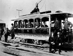 Photo of Seattle Electric Railway Company trolley with motormen, @1890