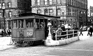 Photo of the last day of the Yesler cable car run, Aug. 9, 1940