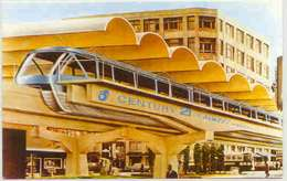 Monorail at Westlake Center, 1962 rendering. Postcard