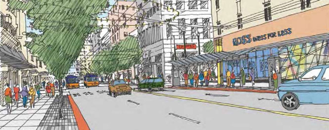 An artist sketch of Third and Pike looking north.