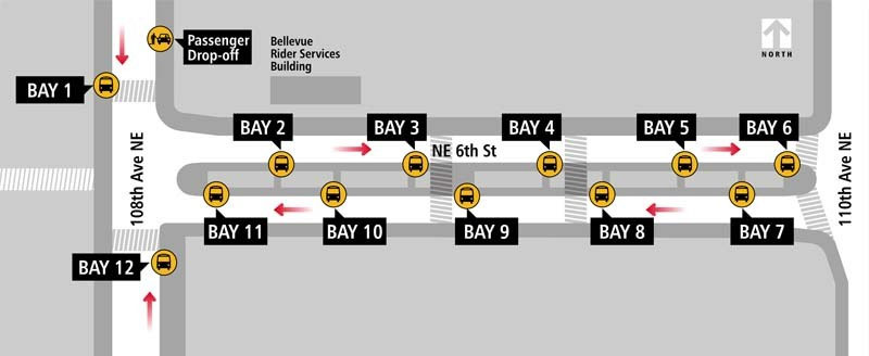 Bellevue Transit Center Boarding Locations