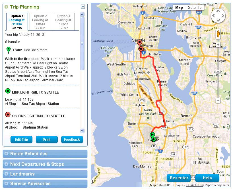 desktop and mobile version - trip planner